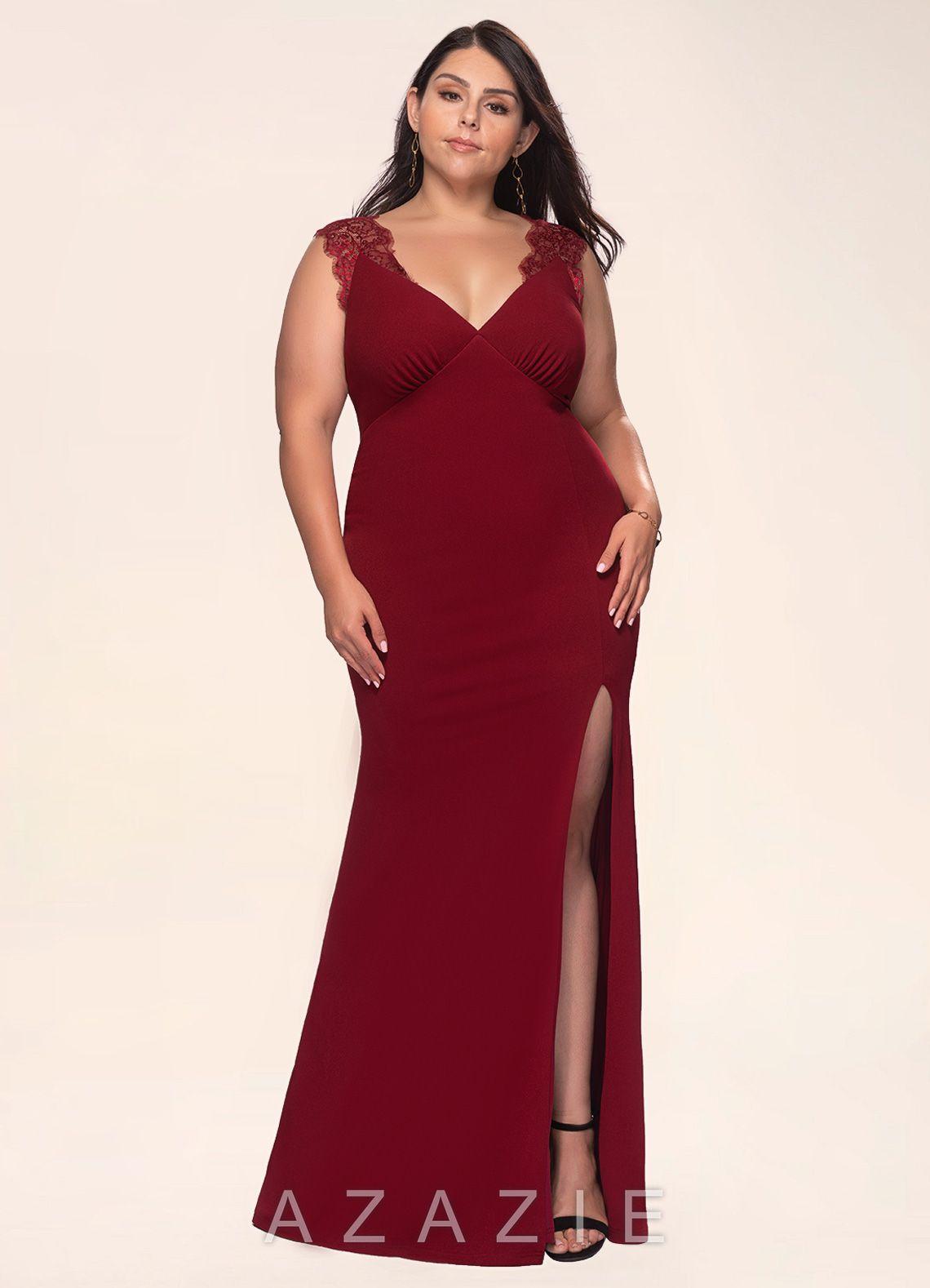 Elegant Love Burgundy Stretch Crepe Maxi Plus Dress Dress | Azazie