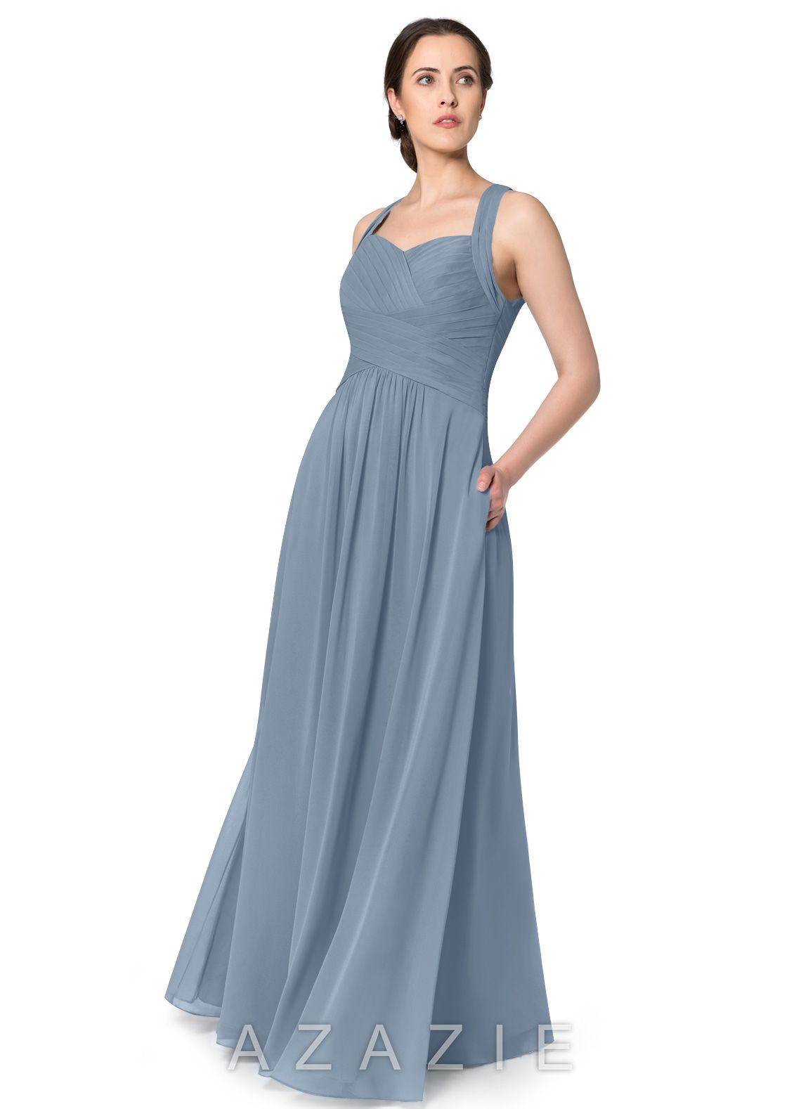1349ca3046d7 Azazie Claudia Bridesmaid Dress - Dusty Blue | Azazie