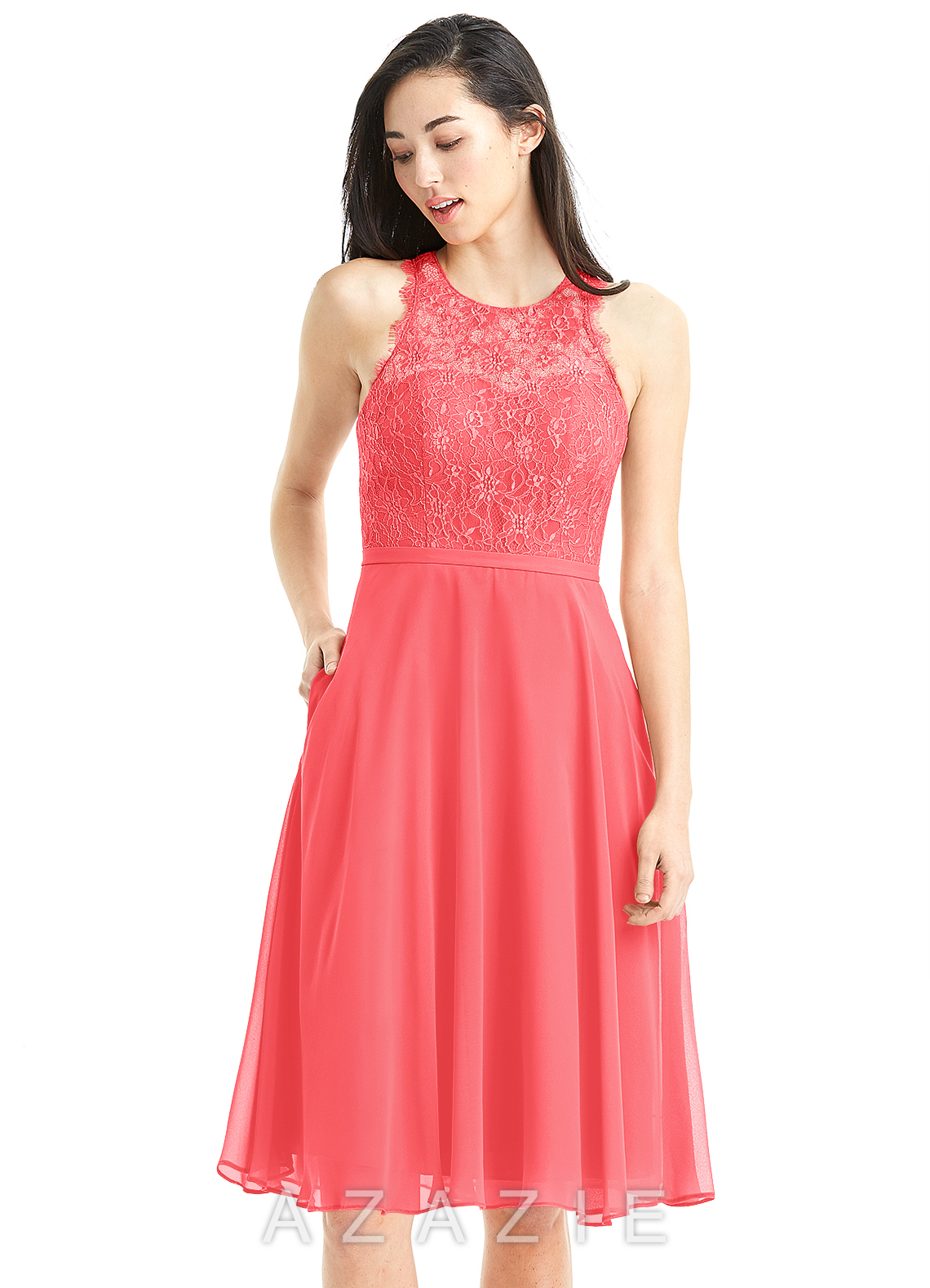d27fb845014 Azazie Sylvia Bridesmaid Dress - Watermelon