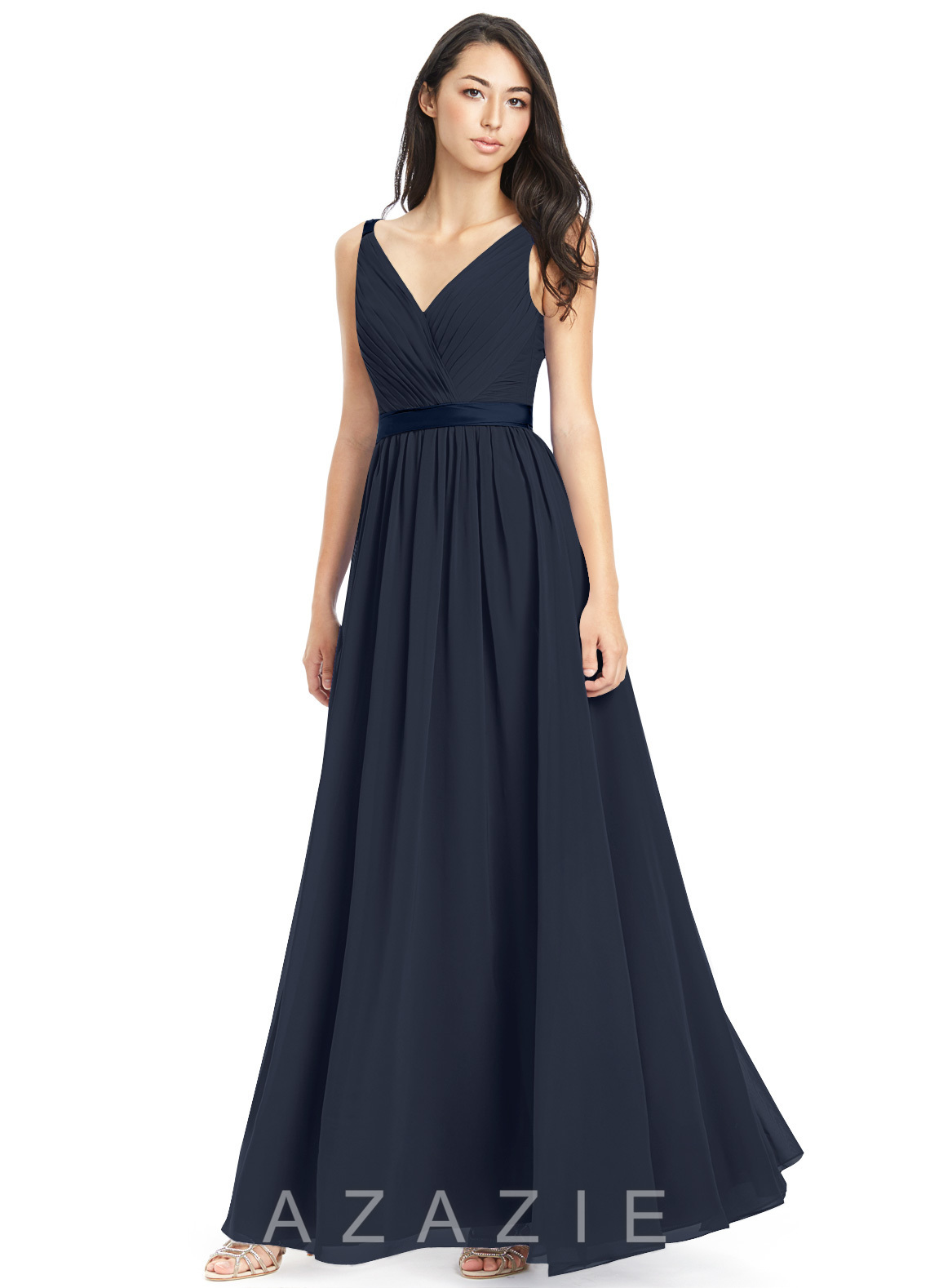 c0a93dcbf2 Azazie Leanna Bridesmaid Dress - Dark Navy | Azazie