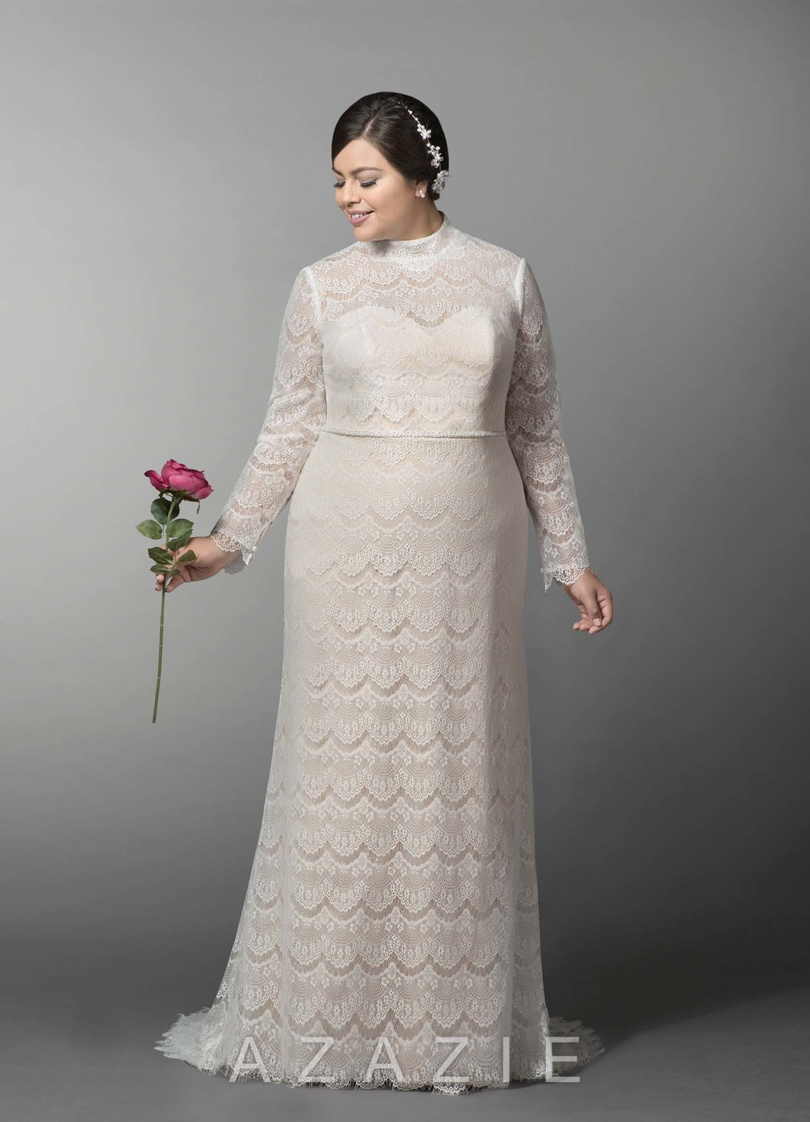 Azazie Ozette BG Wedding Dress - full length dress with sleeves