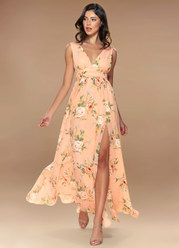 Versailles Blush Floral Print Maxi Dress