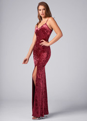 Because Of You Wine Red Velvet Maxi Dress