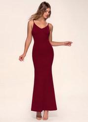 Day to Night Burgundy Stretch Crepe Maxi Dress