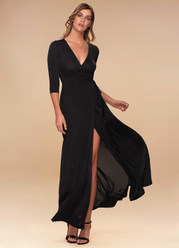 Sway Black Wrap Maxi Dress