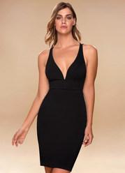 Metropolitan Black Open Back Midi Dress