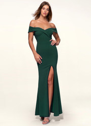 My Valentine Dark Emerald Stretch Crepe Maxi Dress