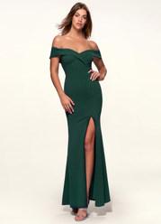 My Valentine Dark Emerald Stretch Crepe Maxi Dress