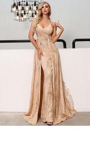 Missord Sequin Detail Cape Hem Maxi Slip Dress
