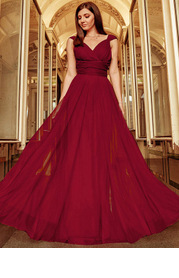 EVER-PRETTY Surplice Neck Tied Empire Waist Mesh Dress