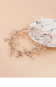 Delicate Crystal and Leaf Headband