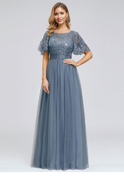 EVER-PRETTY Embroidery & Sequin Bodice Mesh Prom Dress