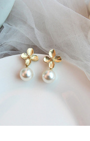 Clover and Pearl Drop Earrings