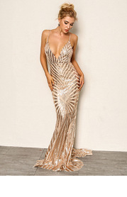 Joyfunear Crisscross Open Back Fishtail Metallic Sequin Dress
