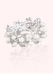 Pearl and Crystal Leaf Bracelet