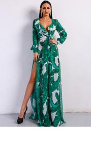 Missord Tropical Print Ruffle Trim Belted Dress