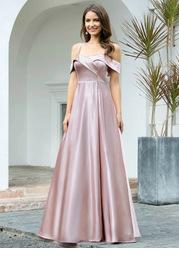 EVER-PRETTY Cold Shoulder Pleated Detail Satin Dress