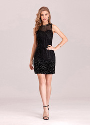EVER-PRETTY Mock Neck Contrast Sequin Mesh Dress