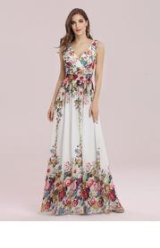 EVER-PRETTY Double V Neck Floral Print Prom Dress