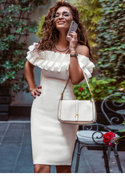EVER-PRETTY Off Shoulder Ruffle Trim Fitted Dress