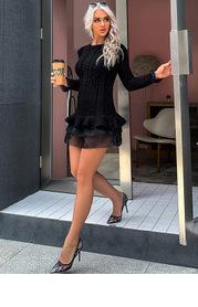 Missord Mesh Ruffle Hem Cable Knit Bodycon Sweater Dress