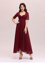 EVER-PRETTY Sweetheart Neck Ruched Lace Bodice Chiffon Dress