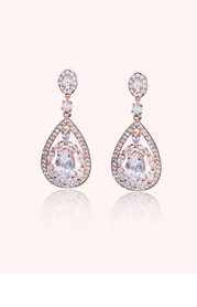 Teardrop Crystal and Pearl Haloed Drop Earrings