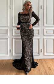 Missord Off Shoulder Lace Overlay Prom Dress