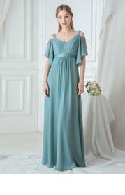 EVER-PRETTY Cold Shoulder Flutter Sleeve Maxi Formal Dress