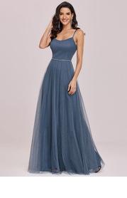 EVER-PRETTY Pearl Beaded Waist Rhinestone Mesh Prom Dress