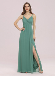 EVER-PRETTY Plunging Neck Split Thigh Prom Dress
