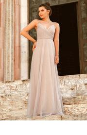 EVER-PRETTY Zip Back Surplice Neck Mesh Prom Cami Dress