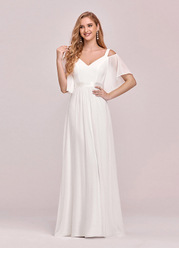EVER-PRETTY Cold Shoulder Flutter Sleeve Maxi Formal Dress