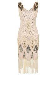 Blush Mark 1920s Gatsby Cocktail Sequin Art Deco Flapper Sequin Midi Dress