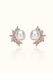 Elle Crystal and Pearl Statement Earrings