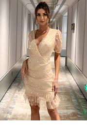 Missord Surplice Neck Ruffle Trim Ruched Gold Print Mesh Dress
