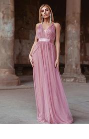 EVER-PRETTY Crisscross Backless Mesh Cami Prom Dress