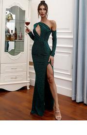 Missord Asymmetrical Neck Cut-out Split Thigh Glitter Dress