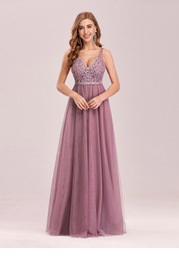 EVER-PRETTY Floral Embroidery Appliques Mesh Dress