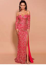 Missord Split Thigh Bardot Sequin Dress