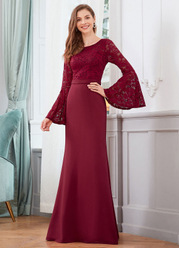 EVER-PRETTY Bell Sleeve Lace Bodice Mermaid Dress