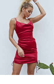 Joyfunear Ruched Drawstring Knot Satin Dress