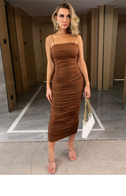 Joyfunear Solid Ruched Dress
