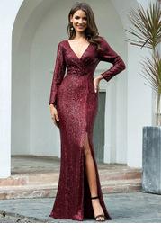 EVER-PRETTY Surplice Neck Split Thigh Sequin Dress