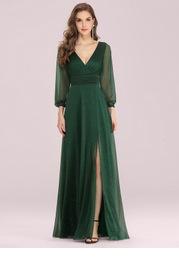 EVER-PRETTY Plunging Neck Split Hem Glitter Dress