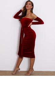 Joyfunear Off Shoulder Tie Waist Velvet Bodycon Dress