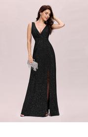 EVER-PRETTY Double V Neck Split Thigh Prom Dress