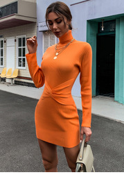 Missord Turtle Neck Twist Front Sweater Dress