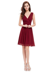 EVER-PRETTY Surplice Neck Ruched Waist Chiffon Dress