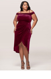 Blush Mark Plus Size Sweet Desire Velvet Midi Dress